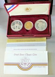 1983-1984 Olympic 3 Coin Uncirculated Set 2 Silver Dollar And 1 Gold 10 Coin
