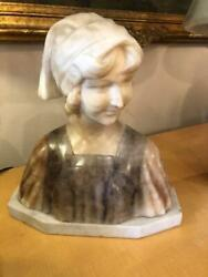 Antique Italian Marble Alabaster Classical Lady Bust