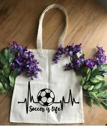 Soccer is Life Tote Bag. Beach Totes Soccer Bag Grocery ShoppingRe useable $6.99