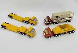 Vintage 1970 Tonka Die Cast Metal Trucks With Trailers Lot Of 4 Free Shipping