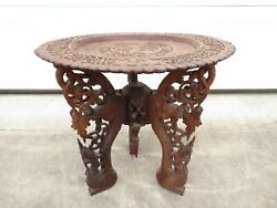 Antique Anglo Indian Carved Teak Wood Side Table Tray Asian Buddhist Burma Art