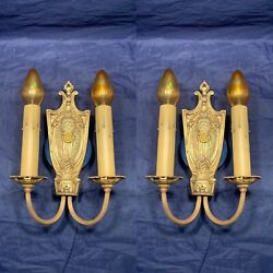Crescenthigh Quality Antique Thick Brass Double Candle Wall Sconces 116e