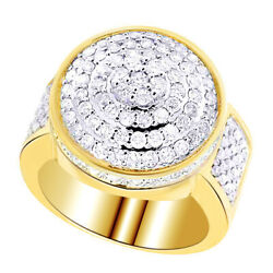 2.16 Ct Round Cut Real Diamond 10k Yellow Gold Cluster Wedding Band Ring 20mm