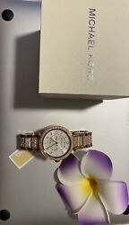 Parker Rose Gold Stainless Steel Watch With Glitz Accents Mk6760