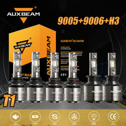Auxbeam 9005+9006+h3 6500k Led Headlight Bulb Kit Super Bright Hi Lo Fog Beam T1