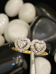 Pave 0.55 Cts Heart Round Cut Natural Diamonds Anniversary Ring In 750 18k Gold