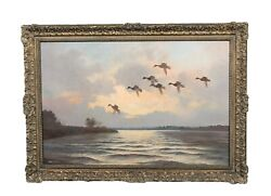Large 19th Century English Mallards Ducks Flying At Sunset By Wilfred Bailey