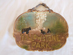 Very Rare Vintage Yellowstone National Park Souvenir Plate With Grizzly Bears
