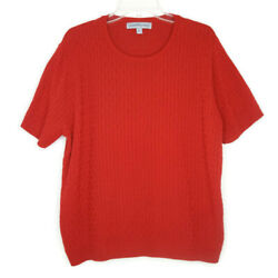 Samantha Grey Womens Size XL Pullover Knit Top Blouse Short Sleeve Red $12.97