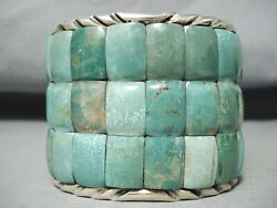 One Of Best Authentic Native American Green Turquoise Sterling Silver Bracelet