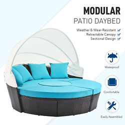 5pc Patio Furniture Set Wicker Daybed 4 Chairs Round Table Pillows And Cover