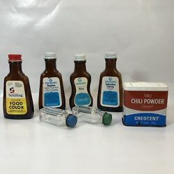 Vintage Crescent Extract Bottles Spice Tin Schilling Food Color Bottle Mixed Lot