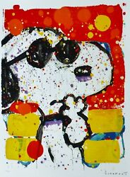 Tom Everhart Cool And Intelligent Peanuts Snoopy Lithograph Hand Signed