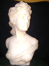 French Alabaster Bust Art Nouveau Lady By Joseph Marie Thomas Lambeux 1852-1908