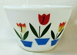 Fire King Oven Ware White Milk Glass Mixing Bowl Tulip Pattern 6.5 Excellent