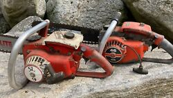 Lot Of 2 Vintage Chainsaws Remington 46 And Powerlite Sl 9 Chainsaw To Restore