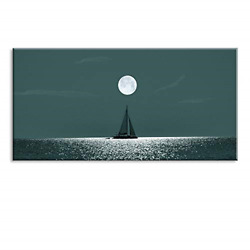 Tkuand039s Tidewater Green Wall Decor Boat And Sea Wall Art Moon Canvas Oil Painting