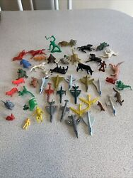 Lot Of 50 Marx Mpc And Other Plastic Plane Animals And Misc Junk Draw Lot
