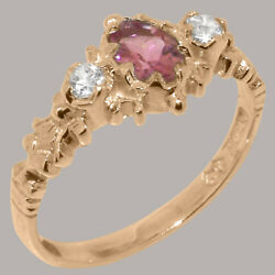 Solid 18ct Rose Gold Natural Pink Tourmaline And Diamond Womens Trilogy Ring