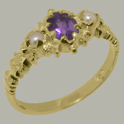 Solid 14ct Yellow Gold Natural Amethyst And Full Pearl Womens Trilogy Ring
