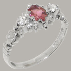 Solid 18ct White Gold Natural Pink Tourmaline And Diamond Womens Trilogy Ring