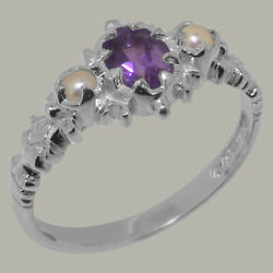 Solid 14ct White Gold Natural Amethyst And Full Pearl Womens Trilogy Ring