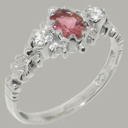 Solid 14ct White Gold Natural Pink Tourmaline And Diamond Womens Trilogy Ring