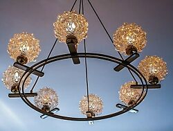 Xlarge White / Brass Circular Ballroom Chandelier With 8 Bubble Glas Globes 1960