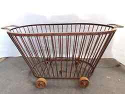 Antique Wide Bakery Basket Wrought Iron Wheels. A3172