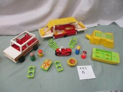 Vintage Fisher Price Little People Family Car Pop Up Camper 992 B Boat Cycle
