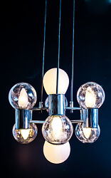 Modern Doria Chrome And Structured Glas Pendant Two Way Lighting 8 Globes 1970s