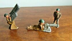 Vintage Early Lot 3 Pieces Military Metal Toy Soldiers W/ Heavy Guns Barclay