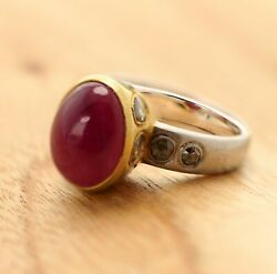 Ruby Cabochon Vintage Ring 18 Karat Two Tone Oval Ruby Gemstone And Diamonds