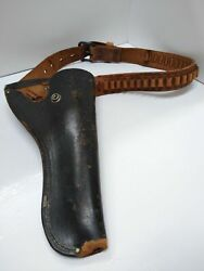 Vintage Leather Gun Holster And Ammo Belt 25 Man Cave Display Collectable