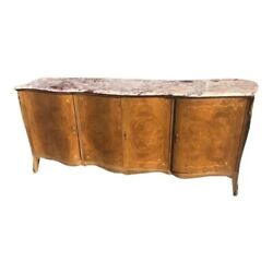 Antique Italian Marble Top Walnut Large Server Buffet Credenza