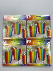 Amscan Treat Boxes 5 In Ea Candy/popcorn Rainbow Lot Of 4 New Bj