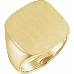18k Yellow Gold Men's Solid Back Square Signet Ring