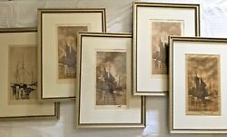 Antique A W Sangster Set Of 5 Original Etchings Nautical Ships 19th Century Art