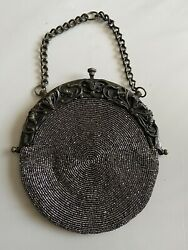 Antique Victorian Micro Mesh Purse And Beaded Floral Coin Purse