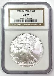 2008-w Burnished American Silver Eagle 1oz .999 - Ngc Ms70 Brown Label