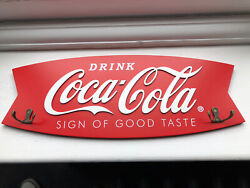Coca Cola Sign Of Good Taste Fishtail Wooden Coat Rack - New And Official In Box