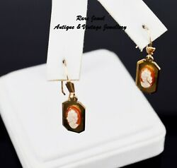 9ct Gold Shell Cameo Earrings Eye Catching Drops Good Quality And Weight