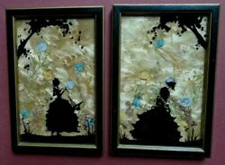 Silhouette Pictures Hand Painted Ladies And Trees. Wild Flowers 6x4 1940s