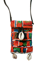 Beaded Native American Indian Medicine Bag Necklace Leather Pouch