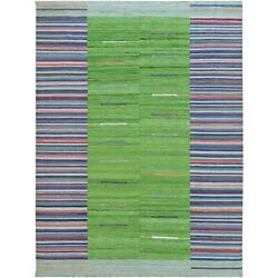 9and0393x12and0391 Flat Weave Kilim Wool Hand Woven Stripe Design Reversible Rug G60091