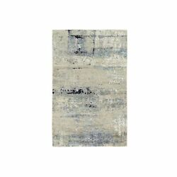 3and039x5and039 Ivory Abstract Design Wool And Silk Hand Knotted Rug G62167