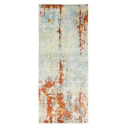 4and0391x9and03910 Wool And Silk Abstract Fire Mosaic Hand Knotted Runner Rug G62157