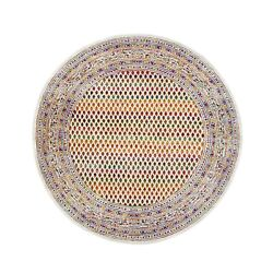 6and039x6and039 Colorful Sari Silkwool Saroogh Inspired Hand Knotted Round Rug G62324