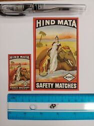 9 Safety Matches Matchbox Labels Sweden Wimco Elephant Tiger Hind Mata India