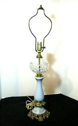 Vintage Paul Hanson Ny Baby Blue W/gold Gilt And Clear Glass Table Lamp